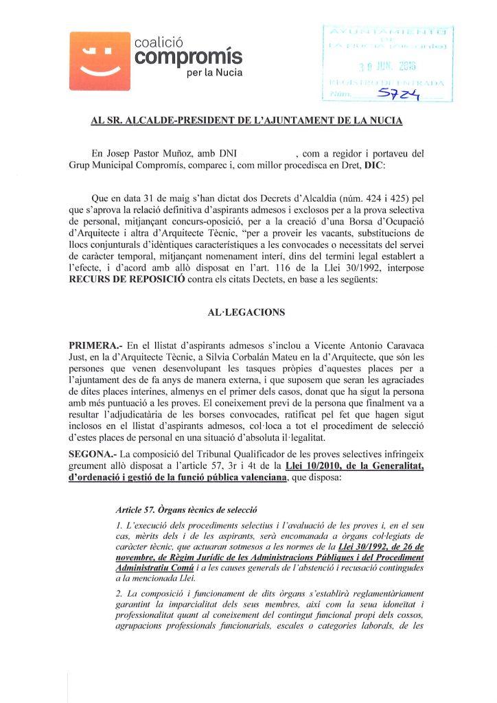 Recurs reposició tribunal arquitecte1